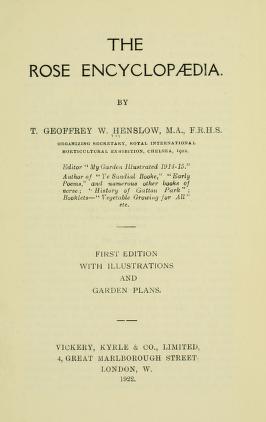The rose encyclopaedia