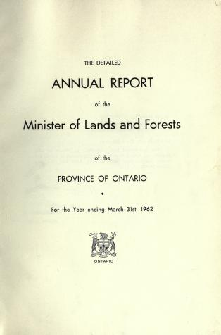 Report of the Minister of Lands and Forests of the Province of Ontario