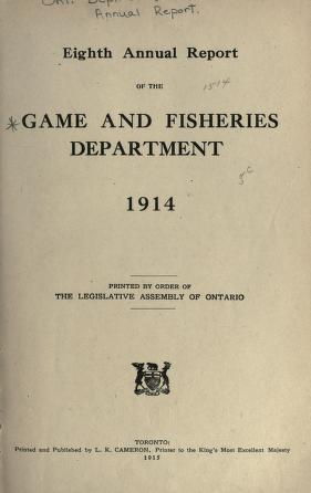 Annual report of the Game and Fisheries Department of Ontario