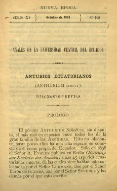 Anturios ecuatorianos (Anthurium Schott.). Diagnoses previas