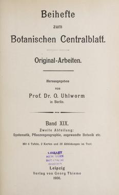 Beihefte zum botanischen Centralblatt