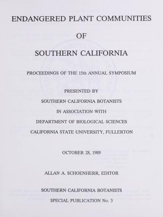 Endangered plant communities of Southern California : proceedings of the 15th annual symposium