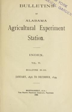 Bulletin : report of Agricultural Experiment Station, Agricultural and Mechanical College, Auburn, Ala