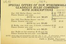 Special offers of our worthwhile gladiolus bulbs combined with subscriptions